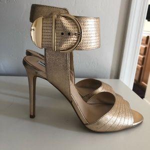 Karl Lagerfeld gold clip high heels